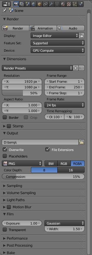 Blender 3D Properties Render