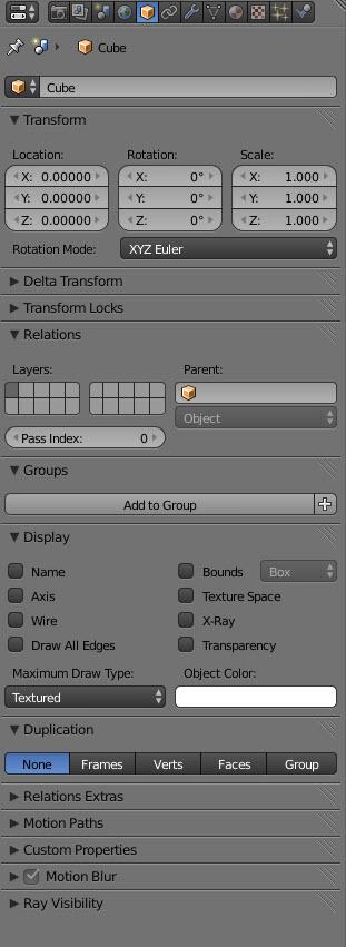 Blender Properties Object